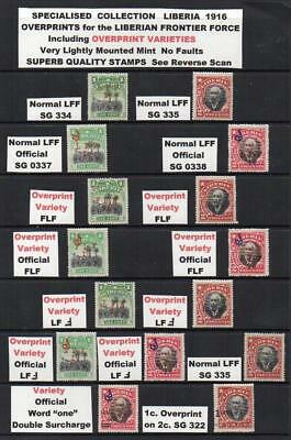 "LIBERIA 1916 Overprint VARIETIES of the LIBERIAN Frontier Force with ""F""Reversed"