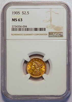 1905 $2.50 Liberty Quarter Gold Eagle US Coin (NGC MS63 MS 63) (04353)