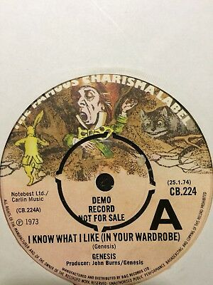 "Genesis Demo:""i Know What I Like""1974 Charisma-Same Track Both Sides Dj Only 7""!"
