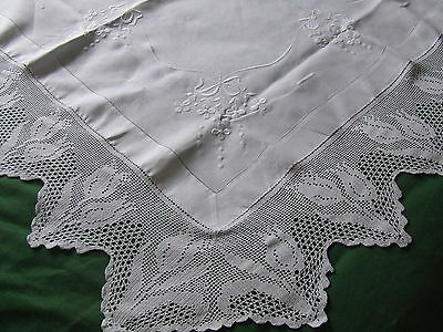 vintage linen tablecloth with hand crochet