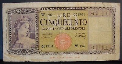 1948, Italy, Bank of, 500 Lire, Circulated Note          ** FREE U.S SHIPPING **