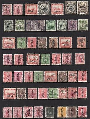 NEW ZEALAND OFFICIAL  53 Stamps  Fine to V.F.U.  Sound & Collectable