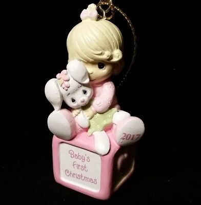 "Precious Moments 3"" Christmas Ornament- Baby Girl First Christmas W/bunny 2017"