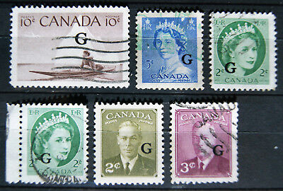 group of overprint 'G' - government/official CANADA stamps
