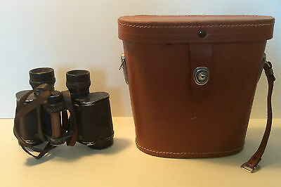 Antique Army Binoculars 1940s Vintage Field Glasses w/ Leather Case Made Germany