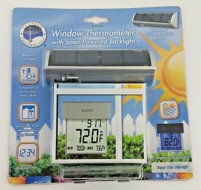 LA CROSSE THECNOLOGY Window Thermometer with Solar Powered Backlight 306-605 New