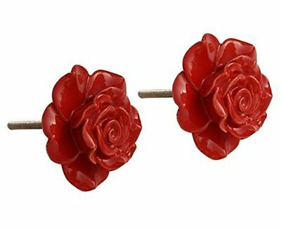 Red Rose Decorative Ceramic Painted Vintage Pretty Door Cabinet Drawer Pull Hand