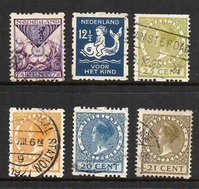NETHERLANDS 6 Stamps of the 1924-5 interupted perfs  Nice Quality & collectable
