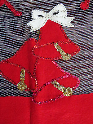 Vtg Large Net Tulle Christmas Tablecloth Felt Sequins Red Bells Musical Notes