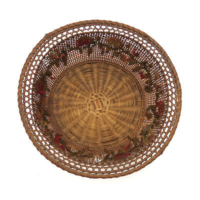 Antique 19th c. Embroidered Wicker Sewing Basket Round ~ AAFA