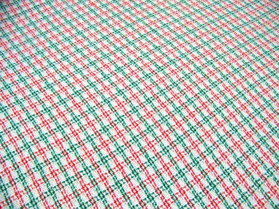 Vintage Large WAFFLE WEAVE Christmas Tablecloth Blanket Red White Green EUC
