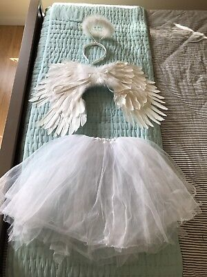 3pc Girls Halloween Costume Angel Feather Wings Halo Tulle Skirt White Sz 8 9 10