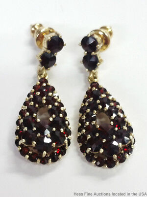 Antique Bohemian Garnet Gold Over Silver Pear Shaped Ladies Dangle Earrings