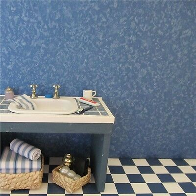 Dolls house wallpaper 2 x large sheets FLECKED BLUE [157]