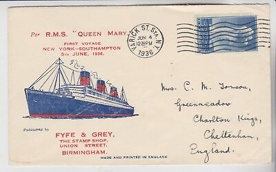 Gb Stamps 1936 Maiden Voyage Queen Mary Cover From New York From Collection
