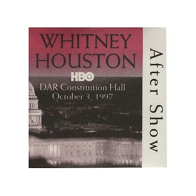Whitney Houston authentic 1997 HBO concert DAR Hall Backstage Pass after show