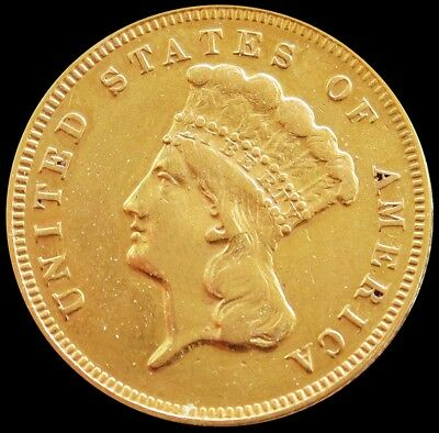 1878 Gold Us $3 Dollar Indian Princess Head Coin Extremely Fine Condition