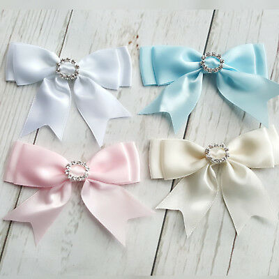 1 x Satin Ribbon pre-tied bow Diamante Buckle Wedding Pink Blue White Ivory