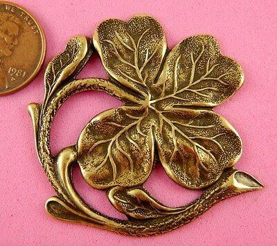 VINTAGE DESIGN ANTIQUE BRASS LARGE SHAMROCK-1 PC(s)