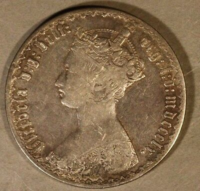 "1860 Great Britain ""Gothic"" Silver Florin Attractive    ** FREE U.S. SHIPPING **"