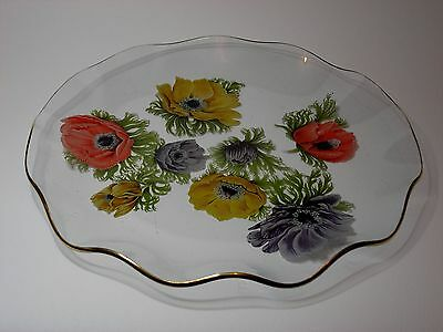 Chance Brothers Fluted Rim Glass Serving Plate, Anemone Design by Michael Harris
