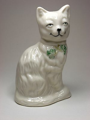 Belleek Quizzical Cat 2200 Fine Parian China Made in Ireland