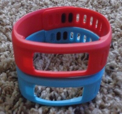Lot of 2 NEW GARMIN VIVOFIT 1 Replacement Wristbands with Clasps Large Red Blue