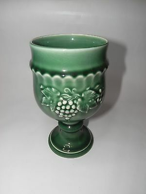 British Royal Worcester Crown Ware Majolica Green Vine Decorated Goblet