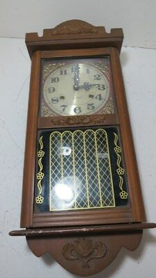 Alaron 31 Day Wind Up Wall Clock w/Timing Pendulum and Key