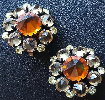 Sig AUSTRIA Vtg Clip Earrings Flower Orange Yellow Rhinestone Fall Autumn W118