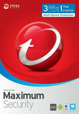 TREND MICRO MAXIMUM INTERNET SECURITY 3 Devices 1 Year License 2017 FAST DEL