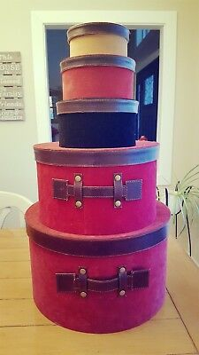 Lot of 5 Nesting Vintage Print Hat Boxes-- round velvet and leather look handles