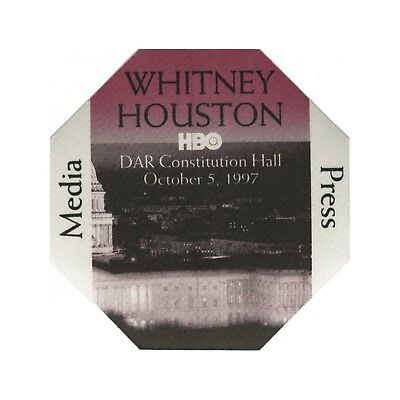 Whitney Houston authentic 1997 HBO concert DAR Hall Backstage Pass media red