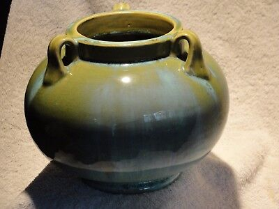 Fulper Flambe Glazed 3 Handled Vase Arts and Crafts Pottery