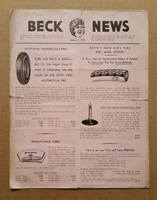 """Beck News"" Motorcycle Dealers Newsletter,March 1,1935"
