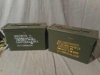 2 ea. 30 Cal Ammo Can Box Army Military 7.62 MG MM M151 M37 M998 M35 M715 M880