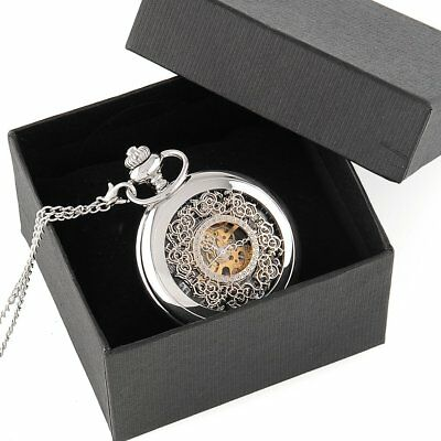 Classic Silver Engraved Case Men Mechanical Pocket Watch Chain Hand-Winding