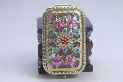 Exquisite handmade hollow out Inlaid diamond pink mirror flower ad678