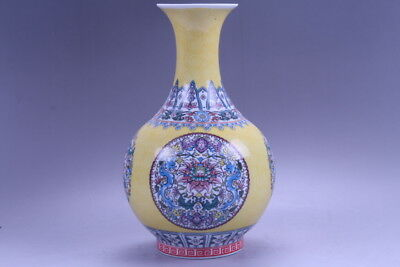 Chinese Pastel Colorful Painted Flower Vase W  Qianlong Mark hp66