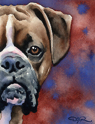BOXER Dog Watercolor 8 x 10 ART Print Signed by Artist DJR
