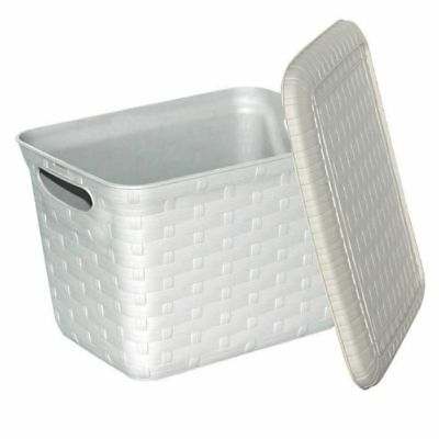 MHOME - M-HOME Panier a linge + Couvercle aspect osier 5,5L ficelle - NEUF