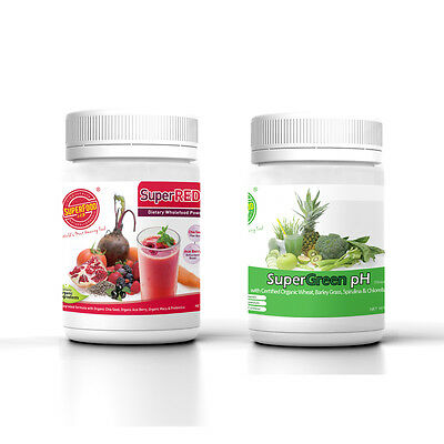 [Twin Pack] SuperGreen pH & SuperRed Antiox Superfood Powder (250g x1 +270g x1)