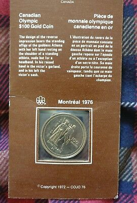 Brilliant uncirculated 1976 Montreal Canadian Olympic $100 14k Gold Coin
