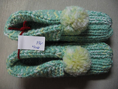 NWOT Amish Hand Knit Pastel Green Mix w/Cuffs Slippers Mens Sm Womans Med 8 3/4""