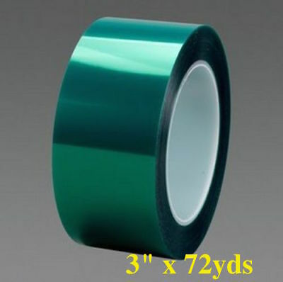 """2mil High Temp Green Polyester Masking Tape for Powder Coating - 3""""x 72 yd"""