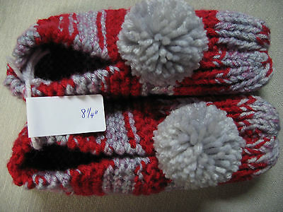 New Handmade Knit House Slippers OH STATE Red & Gray Womans Sm Mans X Sm 8 1/4""