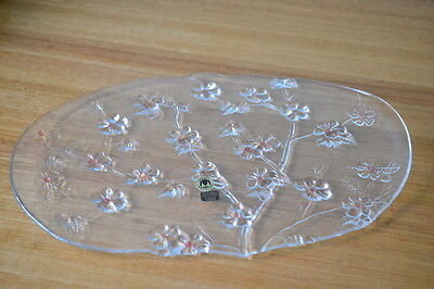 Vintage glass Walther Glas Crystal tray dish West Germany plate serving LWT1