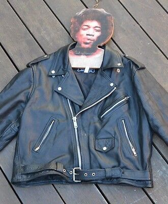 Vintage Mens black leather Jacket heavy duty  Biker style