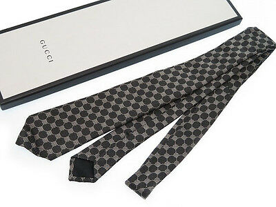 Authentic GUCCI Silk Tie Men's Black / Gray 0067