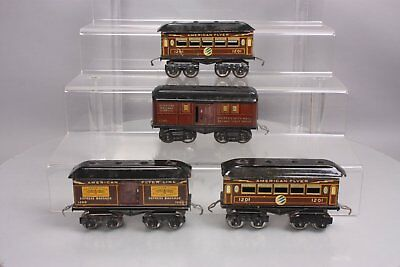 American Flyer O Gauge Prewar Lithograph Tinplate Pass Cars: 1200, 1205, 1210 (4